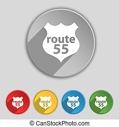 Route 55 highway icon sign Symbol on five flat buttons...