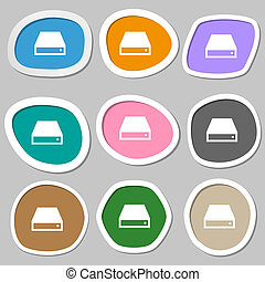 CD-ROM icon symbols Multicolored paper stickers illustration...