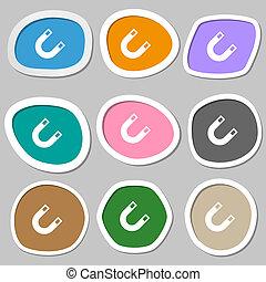imán, herradura, icono, symbols., multicolor, papel,...