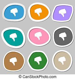 Dislike, Thumb down icon symbols. Multicolored paper stickers.