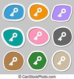 Key icon symbols Multicolored paper stickers illustration