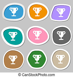 Winner cup, Awarding of winners, Trophy icon symbols. Multicolored paper stickers.