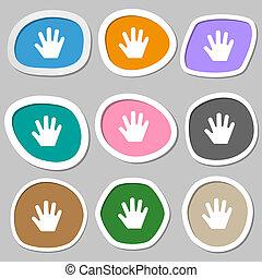 Hand icon symbols. Multicolored paper stickers.
