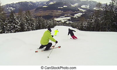 Skiing downhill - Full HD video footage of a group of...