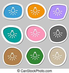 light bulb icon symbols. Multicolored paper stickers....