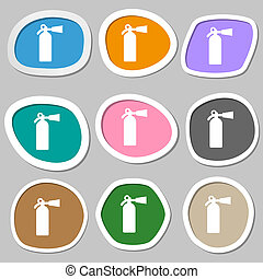 extinguisher icon symbols Multicolored paper stickers...