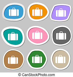 suitcase icon symbols Multicolored paper stickers...