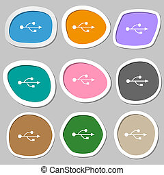 USB icon symbols Multicolored paper stickers illustration