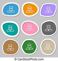 Network icon symbols. Multicolored paper stickers.