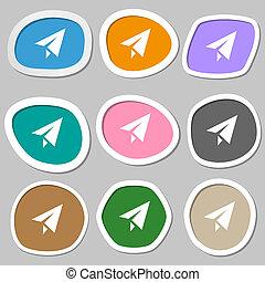 Paper airplane icon symbols Multicolored paper stickers...