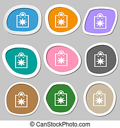 shopping bag icon symbols Multicolored paper stickers...