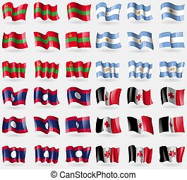 Transnistria, Argentina, Laos, Udmurtia. Set of 36 flags of the countries of the world.