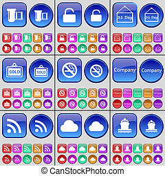 Negative films, Lock, Plate, Sold, No smoking, Company, RSS, Cloud, Ship. A large set of multi-colored buttons.