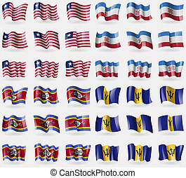 Liberia, Mari El, Swaziland, Barbados Set of 36 flags of the...