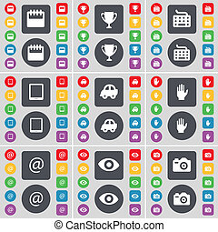 Calendar, Cup, Keyboard, Tablet PC, Car, Hand, Mail, Intuition, Camera icon symbol. A large set of flat, colored buttons for your design.