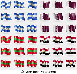 Nicaragua, Qatar, Transnistria, Egypt. Set of 36 flags of the countries of the world.
