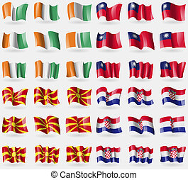 Cote Divoire, Taiwan, Macedonia, Crotia Set of 36 flags of...