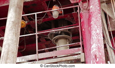 Drilling rig. Oilfield Industry. Close up part of drilling...