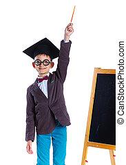 Little boy in academic hat - Little Professor boy in...