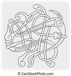 monochrome icon with Celtic art and ethnic ornaments for...