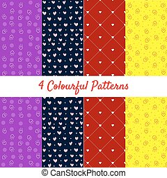 Seamless geometric pattern with hearts. Vector repeating texture.