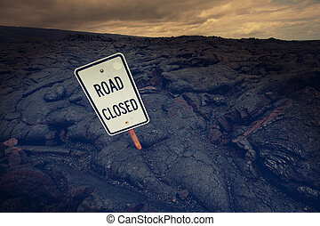 Road on Hawaii - Road closed by lava in Hawaii island