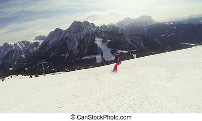 Snowboard action woman - Beautiful full HD action video...