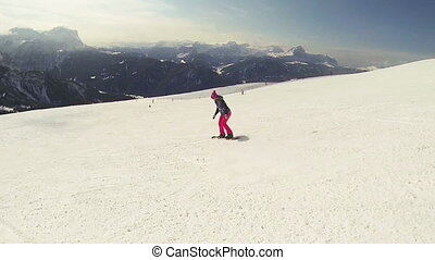 Snowboard girl - Beautiful full HD action video footage of a...