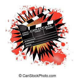 Christmas Clapperboard - A typical movie clapperboard with...