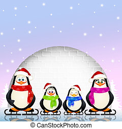 funny penguins - illustration of funny penguins in the igloo
