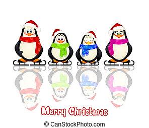 penguins family - illustration of penguins family