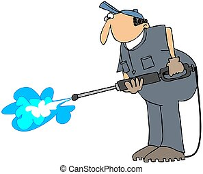 Power Washer - This illustration depicts a worker using a...