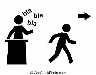 boring speech template with figure running away