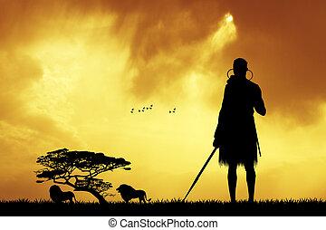 Masai in African landscape - illustration of Masai in...