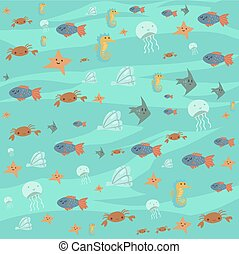 Vector cartoon flat ocean stuff background.