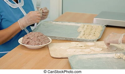 Making of dumplings, - The cook is putting meat into the...