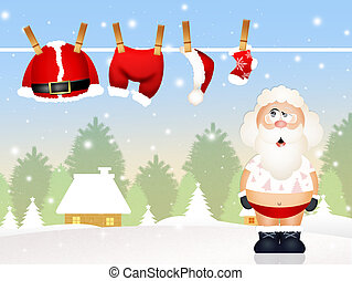 Santa Claus without clothes - illustration of Santa Claus...