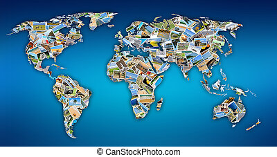 World map with photos - Collection of different photos...