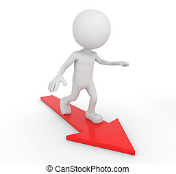 White 3D human surfing on a red arrow