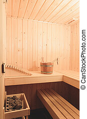 Small relaxing sauna - The interior of a small Finnish sauna...