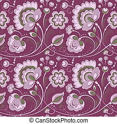 Floral seamless pattern in slavonic style, purple color