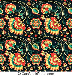 Floral seamless pattern in slavonic style - Floral vector...