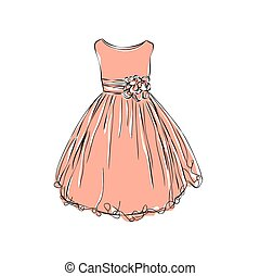 Dress for little girls. - Hand drawn illustration with dress...