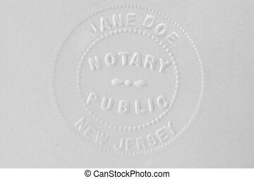 Notary stamp - A New Jersey notary stamp for Jane Doe
