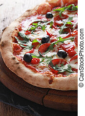 whole fresh pizza - whole fresh baked pizza with olives and...