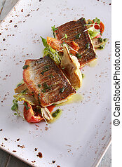 Plated seabass fish meal - healthy seabass fish plated meat