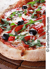 whole salami pizza - whole fresh baked pizza with olives and...