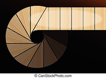 A Darkened Spiral Staircase - Abstract image of a view down...