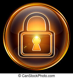 Lock icon gold, isolated on black background
