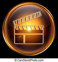 movie clapper board icon golden, isolated on black...